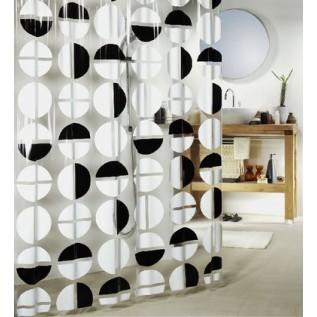1009176 Spirella Штора для ванны 180x200см чёрно-белая GELLY