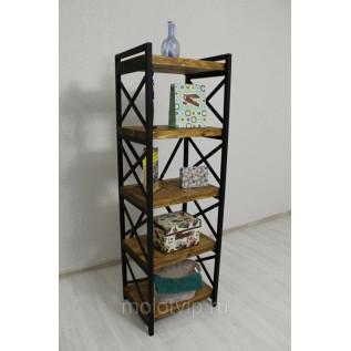 Этажерка «Kovalli - S», стеллаж с металлическим каркасом и деревом в стиле Лофт. 5 полок, 1580*500*405мм