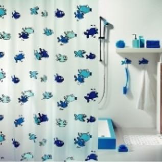 1001951 Spirella Штора для ванной комнаты Peva Hugo-синяя 200х180 см