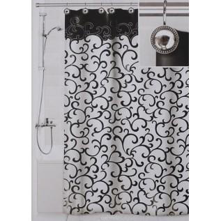 Штора для ванной Valiant Элегант, цвет: белый, черный, 180 см х 180 см