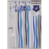 Штора для ванной Valiant Водопад цветов, цвет: белый, голубой, 180 см х 180 см