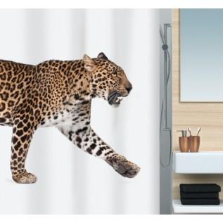 1016405 Spirella Штора для ванной комнаты Tex Leopard-бежево-чёрная 200х180 см