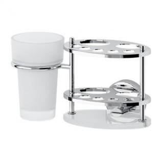 LUX 061 Держатель зубных щеток и пасты со стаканом матовый хрусталь хром