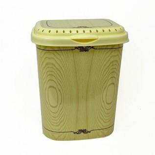 Корзина для белья 40л с крышкой с декором Беленый дуб арт1940/91