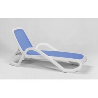 Alfa белая вставка синяя лежак