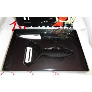 Набор Фруктовый нож и овощечистка Samura Eco циркониевая керамика, черные рукояти SKC-011