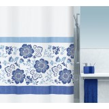 1015518 Spirella Штора для ванной комнаты Tex FIORELLA голубая 200х180 см