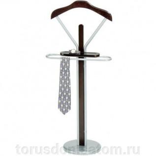 Вешалка-стойка костюмная СН - 4089, 1080х450х300 мм, металл и дерево, темный орех и серебро