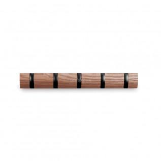 Вешалка настенная горизонтальная Flip 5 крючков дерево, Umbra