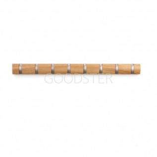 Umbra Вешалка настенная для одежды в прихожую горизонтальная flip 8 крючков натуральное дерево 318858-390