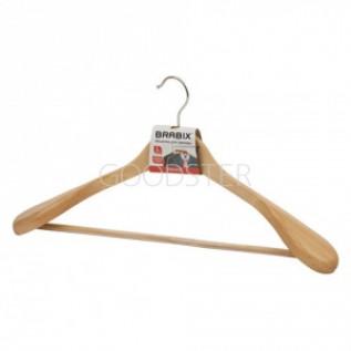 """Вешалка-плечики, размер 48-50, деревянная, анатомическая, перекладина, цвет сосна, BRABIX """"Люкс"""""""